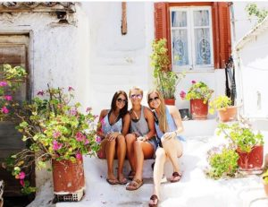 Lauren Edwards and friends in Greece