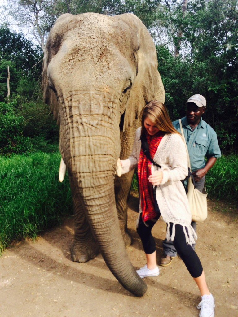 Abby rides an elephant on the Garden Route