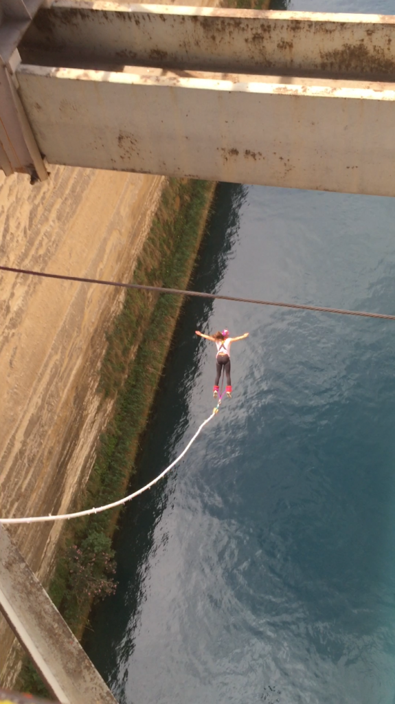 Ashton bungee jumps over the canal