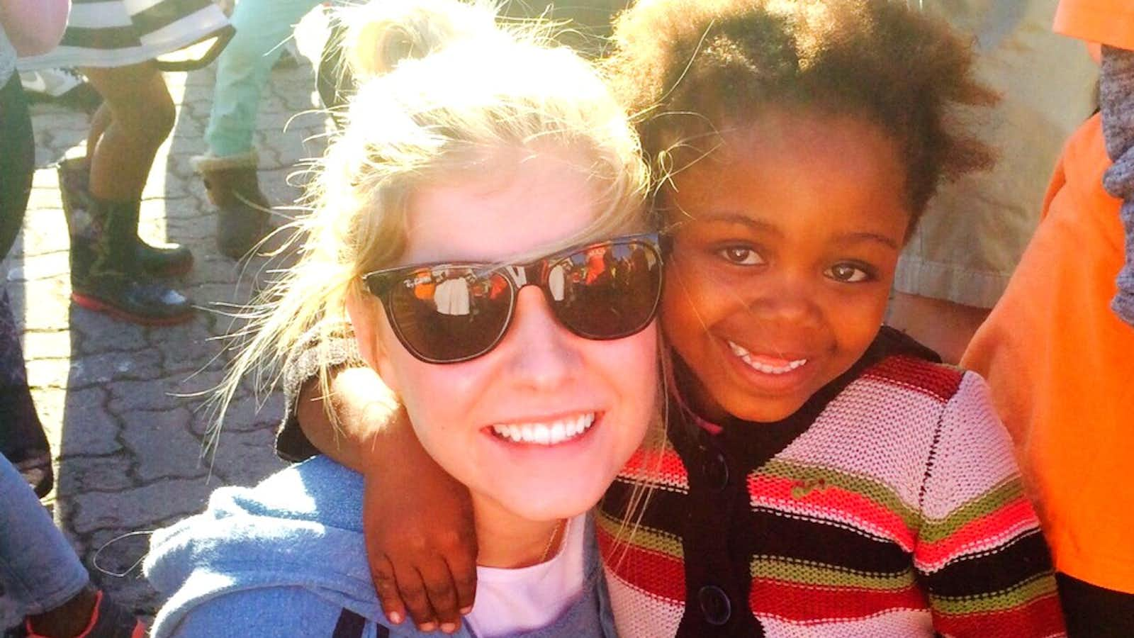 Student makes a new friend in the township