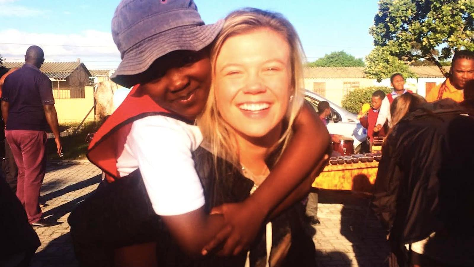 Taylor makes a new friend in the township