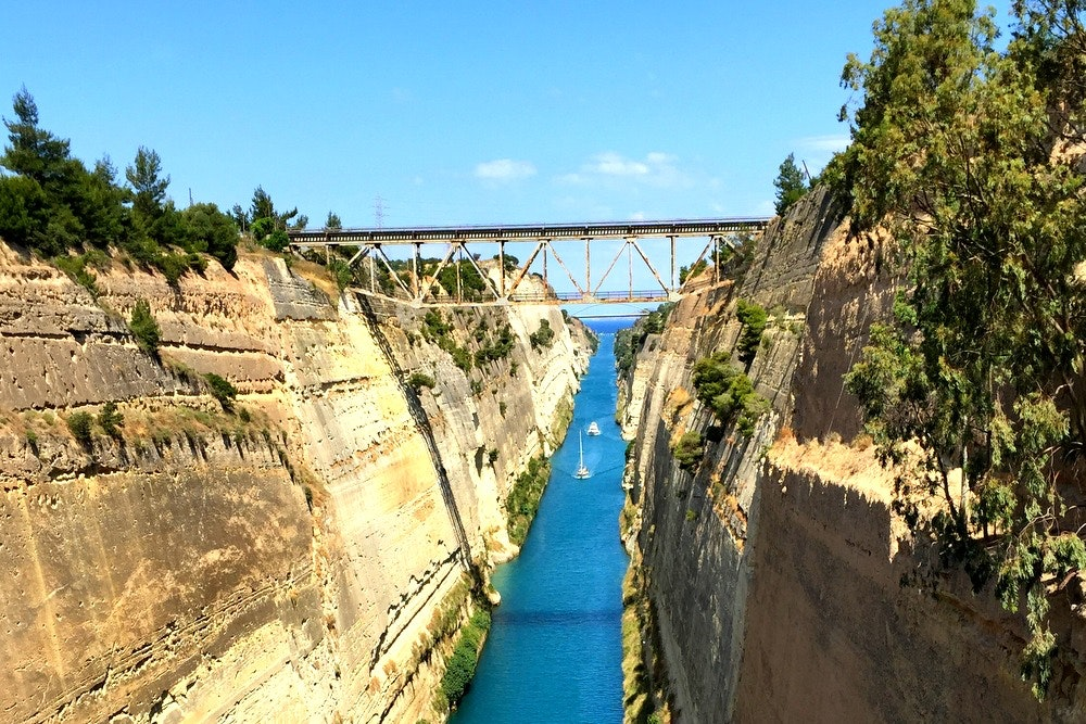 Bungee jump bridge over Corinth Canal