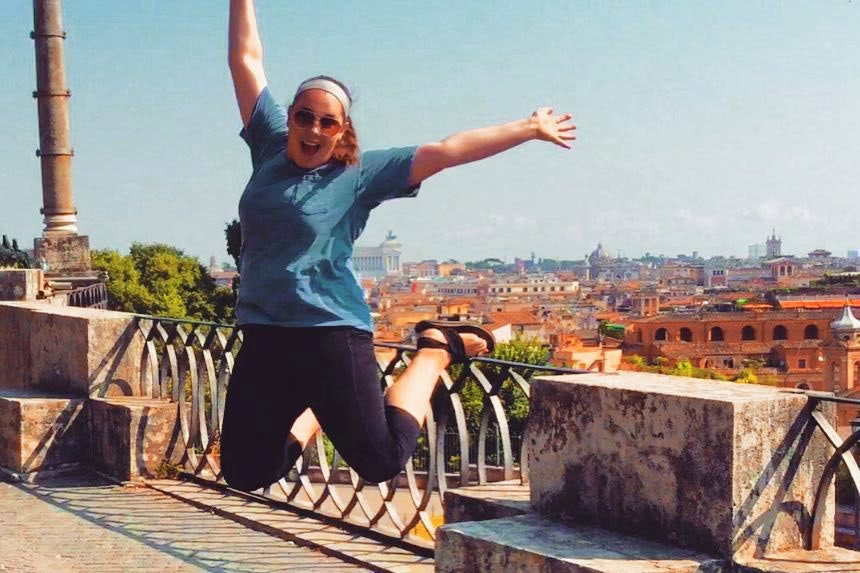 Student jumping in Rome