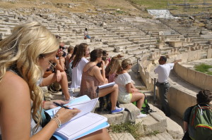 Class at Greece Ruins