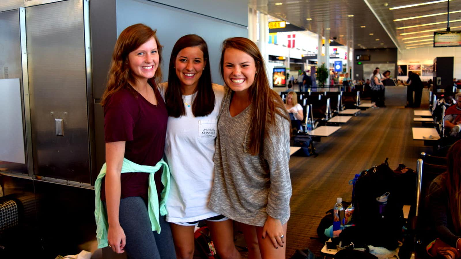 Students at the airport