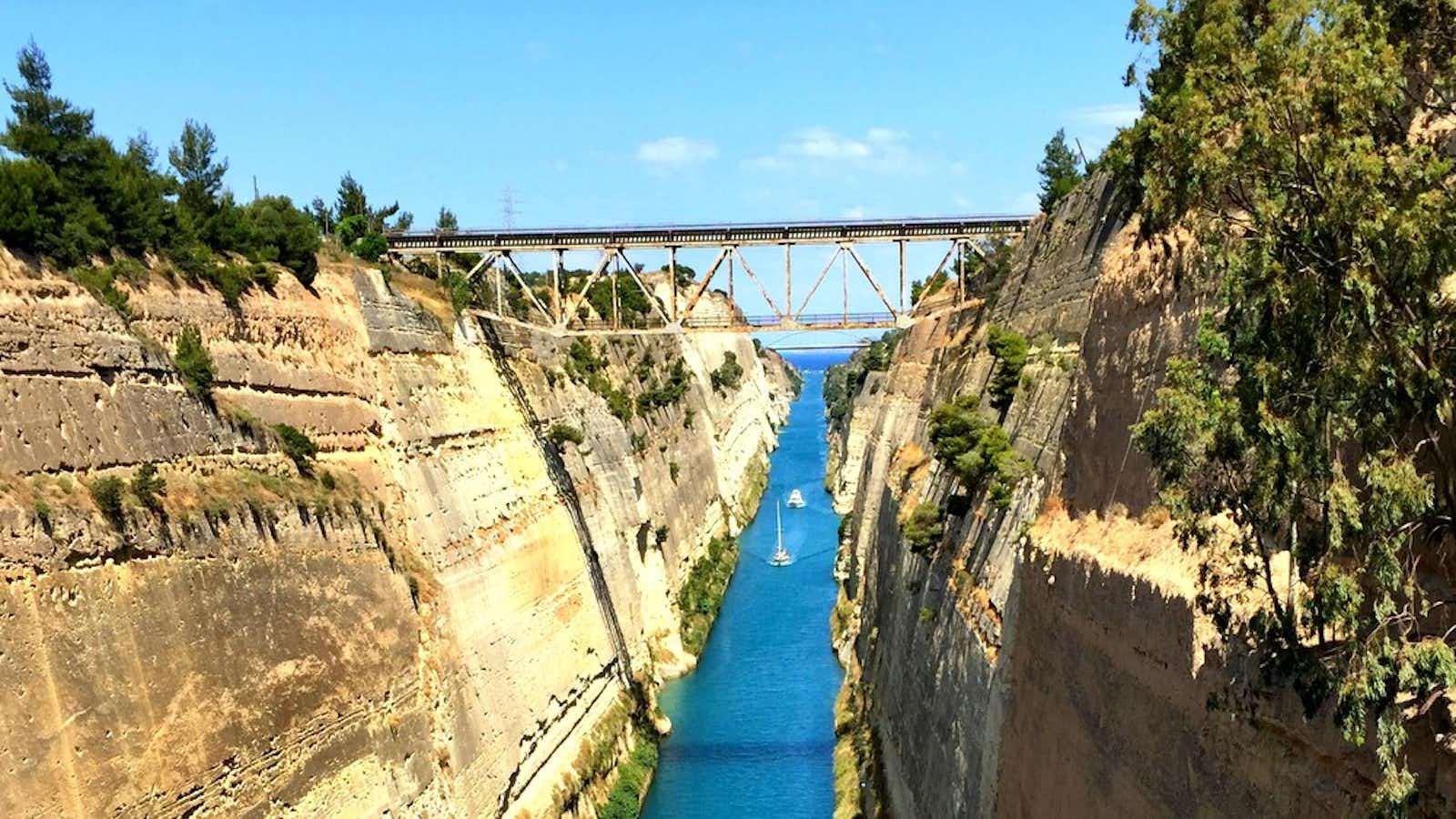 Bungee jump bridge over Corinth Canal